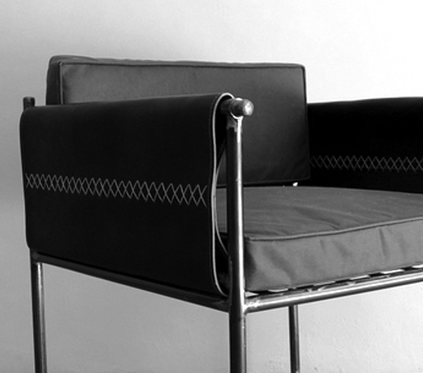 Club Chairs Metal with Leather