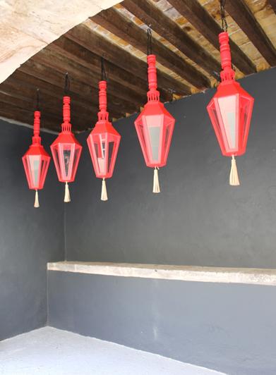 Pink Wood Lantern